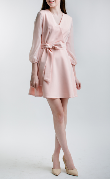 LIGHT PINK Tie Front Dress