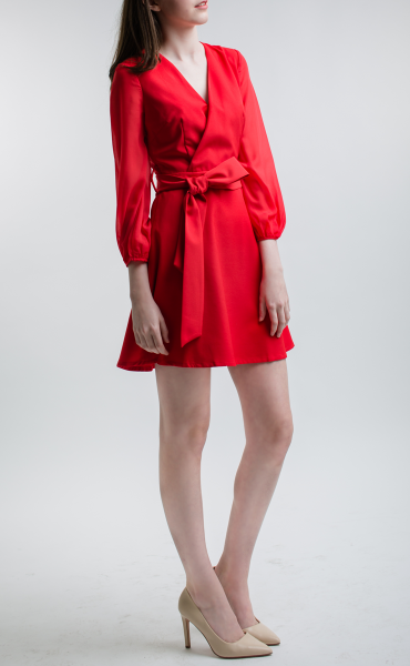 SATURATED RED Tie Front Dress