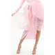 French Soft Mesh Silk Tie Wrap Skirt in Pink