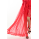 French Soft Mesh Silk Tie Wrap Skirt in Red