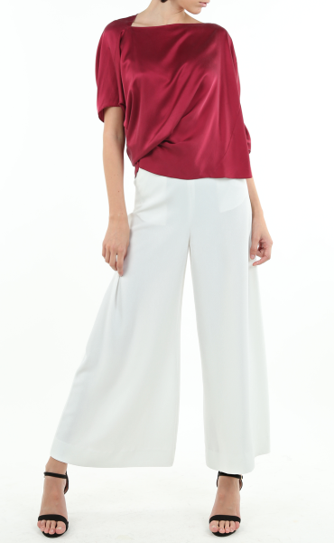 Italian Sandwashed Silk Draped Blouse In Wine Red