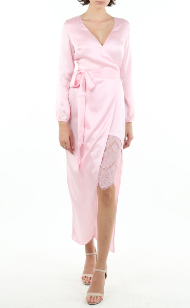 Italian Sandwashed Silk Wrap Dress in Pink