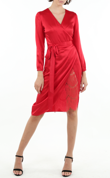 Italian Sandwashed Silk Wrap Dress in Red