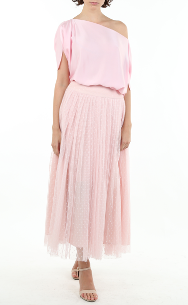 Italian Soft Mesh Skirt in Pink