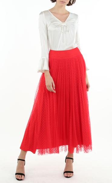 Italian Soft Mesh Skirt in Red