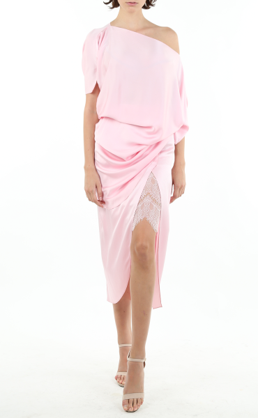 Lace-Lined Italian Sandwashed Silk Skirt in Pink