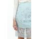 Light Blue Lace Sheer Hem Pencil Skirt