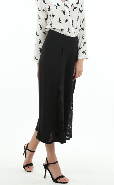 Black Lace Joint Long Pants