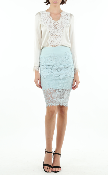 White Hollow-Out Lace Top