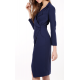 Hourglass Wrap Dress in Navy Blue
