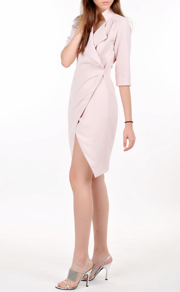 Hourglass Wrap Dress in Nude Pink