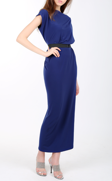 Navy Blue Draped Dress