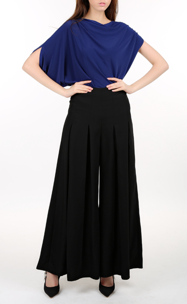 Navy Blue Draped Top